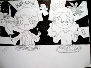 Chibi reaction eating delicious food